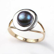 14k Two-Tone Gold Black Pearl Ring
