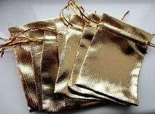 10 Gold Colour Metallic Foil Gift Drawstring Bags - 9cm x 12cm