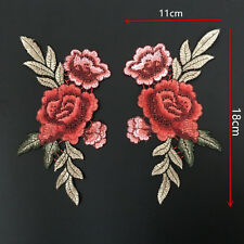 2Pcs Embroidery Rose Flower Sew On Patch Jeans Dress Sticker Applique Crafts DIY