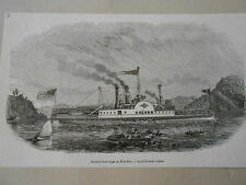 Gravure 1848 - Etats Unis Grand bâtiment à vapeur