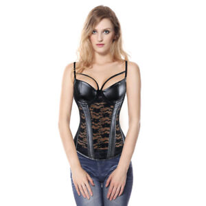 Corset Bi Material Harness Synthetic Leather Black Lace Sexy Big Size 34 To 48
