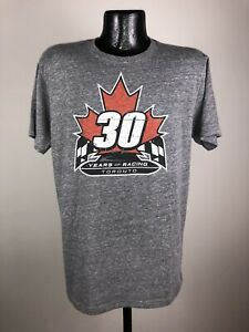 Men's Indy Car Authentic Apparel 30 Years Of Racing Toronto Gray Cotton Shirt L