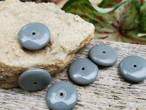 Solid Gray Rondelle Vintage Glass Beads ~ German NOS DIY Jewelry Making
