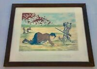 """Framed French Engraving by Boris O'Klein """"Le Reve Du Chien"""", a Dog's Dream"""