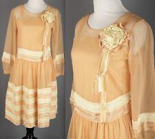 Vtg Women's 20s 30s Orange Chiffon Dress #1638 1920s 1930s Flapper