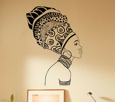 African Woman Wall Decal Beautiful Girl Vinyl Sticker Home Decor Ideas 37(nse)