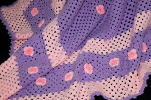 Vtg Pink & Purple Baby Rose Flower Afghan Coverlet Crocheted Throw Blanket