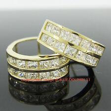 Genuine Solid 9k Yellow Gold Huggies Hoop Engagement Wedding Lab Diamond Earring