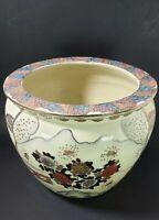 Antique Chinese Oriental Pottery Porcelain Koi Fish Bowl Planter Pot Gold Trim