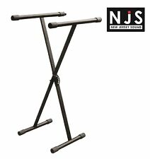 New Heavy Duty Folding X Frame Keyboard Stand Locking Mechanism 5 Heights Black