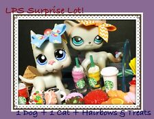 Littlest Pet Shop RANDOM 8 PC Custom Lot 1 DOG & 1 CAT + HAIRBOWS + TREATS