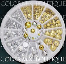 6 Sizes Nail Art Decoration Flat Back Half Round Glitter Gold Silver Pearl #R27