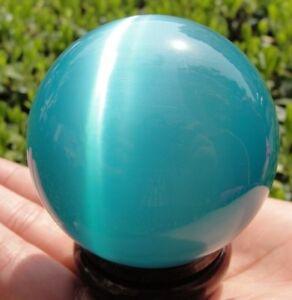 A+++ 80MM + STAND Hot Sell ASIAN QUARTZ BLUE CAT EYE CRYSTAL BALL SPHERE