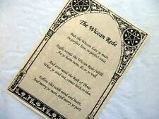 THE WICCAN REDE PARCHMENT POSTER wicca pagan art witch book of shadows pages BOS