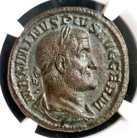 238, Roman Empire, Maximinus I. Large Bronze Sestertius Coin. NGC AU 4/5 3/5!