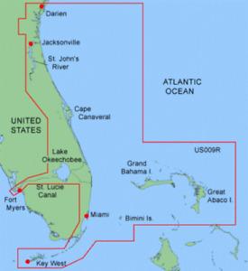 GARMIN BLUECHART DATA CARD MUS009R JACKSONVILLE - KEY WEST FLORIDA CHART CHIP