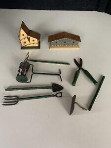 Tender Heart Treasures Bear Dollhouse Gardening Tools And Birdhouses Lot