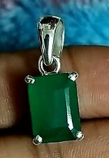 925 Sterling SilverNatural 10x14 Colombian Emerald Octagun Shape Pendat Jewelry