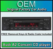 Audi A2 reproductor de CD, unidad de cabeza Audi Concert estéreo del coche se suministra con el código de radio