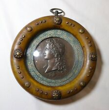 antique miniature Greek bronze portrait polychrome wood framed shadowbox art