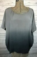 Eileen Fisher Women's 100% Silk Ombre Gray Black Blouse Shirt Top Small Washable