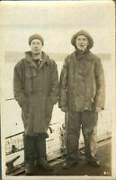 Antique RPPC postcard real photograph portrait 2 English fishermen smoking pipe