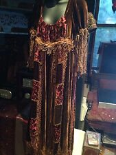 Hand Made Vintage Brown Burgundy Lace Maxi Shaved Silk Velvet Gown Dress
