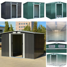 Metal Garden Storage Shed Pent Tool Sheds House Galvanized Steel with Free Base