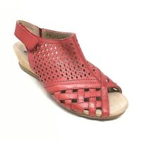 Women's Earth Pisa Galu Slingback Wedge Sandals Shoes Sz 6W Wide Red Leather AD3