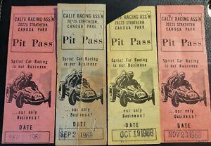RARE 1968 Lot 4 CANOGA PARK Sprint Car Race PIT PASS Stub California Racing TICK