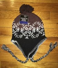 Peruvian Style Knit Winter Ski Hat Navy Blue Snowflake Earflaps Unisex One Size