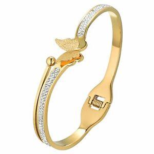 Mens Women Charm Shiny Butterfly Stainless Steel Bracelet Bangle Chain Link Gift