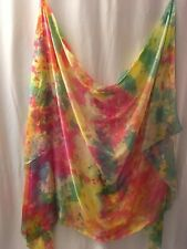 SALE: Belly dance costume  veil silk hand-dyed in US:   pink, green. blue yellow