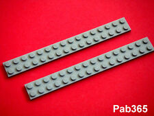 Lego 2 plaques gris clair 2x16 Neuves Light Bluish Gray plates NEW REF 4282