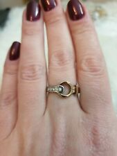 Silver And Gold Plated Stainless Still Ring. Size N. Cz.