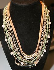 INC Gold Tone Green Mix Media Multi Layer Suede Cord Necklace NWT $34