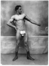 Man wearing fig leaf cloth,Roman sandals,strong,bodybuilders,c1914,Anton M 7496