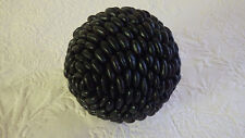 "Primitive Christmas Holiday Ball Decor 5"" Diameter Black Beans Homemade"