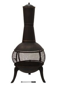 122cm Cast Iron Fire Pit Chiminea Chimney Fireplace Heater Patio with Raincover