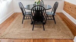 Jute Rug Braided style Reversible 9x12 Feet Rustic look Area Rug Runner Carpet