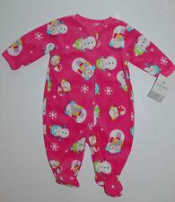 Carter's~USA~Schlafanzug~56-62~Strampler~Fleece~Pyjama~Füße~Schneemann~pink~warm