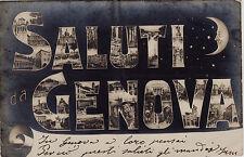 #GENOVA: SALUTI DA...LETTERE CON IMMAGINI E LUNA- fotocartolina al bromuro