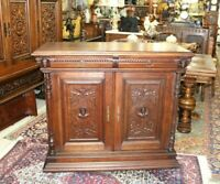 French Antique Oak Renaissance Sideboard Cabinet / Buffet