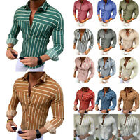 Mens Slim Fit Striped Henley T-shirt Long Sleeve V Neck Muscle Casual Top Blouse