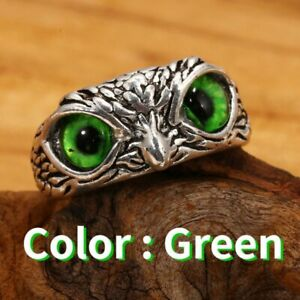 925 Silver Retro Cute Owl Eyes Rings Open Finger Adjustable Wedding Jewelry Gift