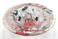 Vintage Hand Crafted Made Blown Rough Round Irregular Red Studio Art Bowl Dish