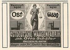 Ostdeutsche Waagenfabrik Königsberg Waage Reklame 1922 Schäfer Werbung Justitia