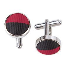 DQT Brass Fabric Inlay Cuff Links Striped Burgundy & Black Mens Cufflinks