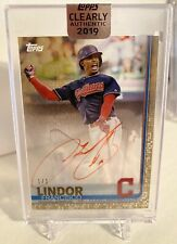 2019 Topps Clearly Authentic Francisco Lindor Red Ink Auto 1/1 Gold Refractor