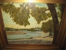 ORIGINAL OIL PAINTING on PANEL English River/Crew Scene H.R. CURWEN., Signed